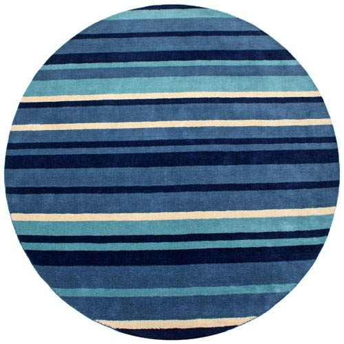 St. Croix Trading Cosmo Striped Blue Round: 6 ft. x 6 ft. Rug