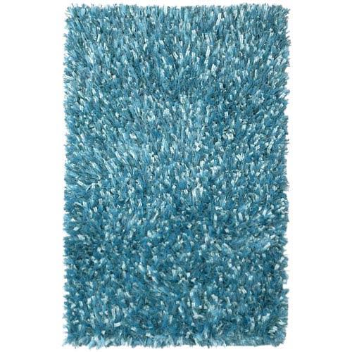 Aqua Blue Shimmer Shag 21-Inch x 34-Inch Rug