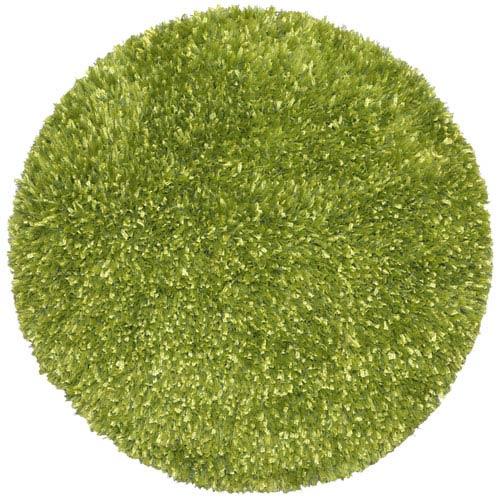 Green Blue Shimmer Shag 2 Ft. x 2 Ft. Round Rug
