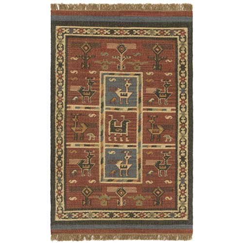 St. Croix Trading Hacienda Tribal Brick Rectangular: 5 Ft. x 8 Ft.  Rug