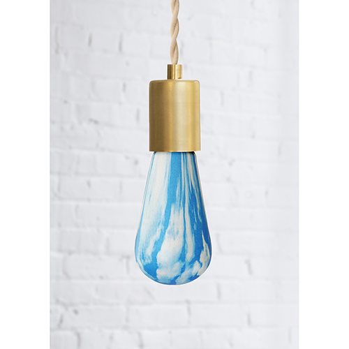 Blue and White Cloud Patterned LED Bulb