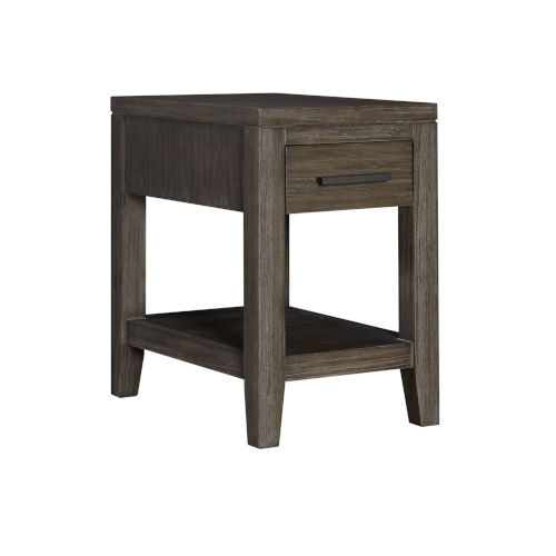 Bravo Brown Rectangular Chairside Table with Drawer