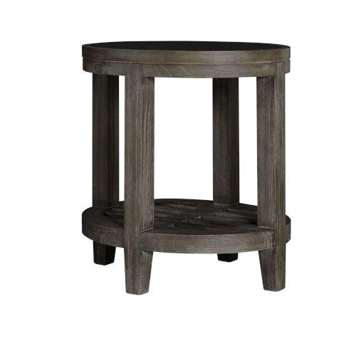 Bravo Brown Oval End Table with Glass Top