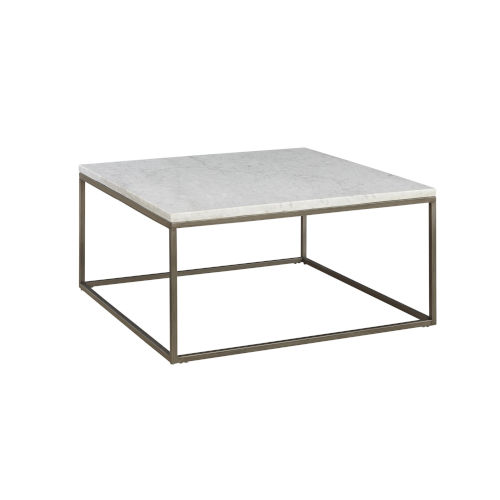Julien Square Coffee Table with White Marble Top