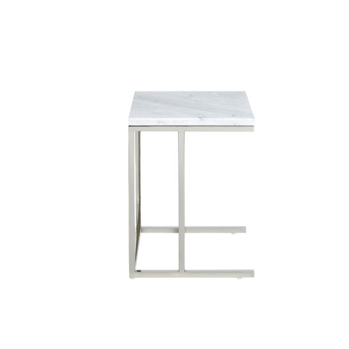 Julien Chrome Base Chairside Table with White Marble Top