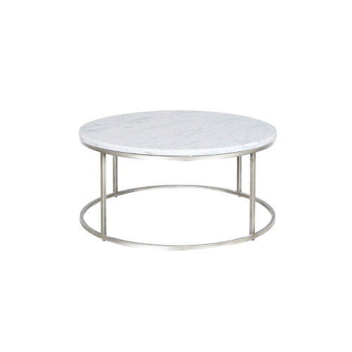Julien Chrome Base Round Cocktail table with White Marble top.