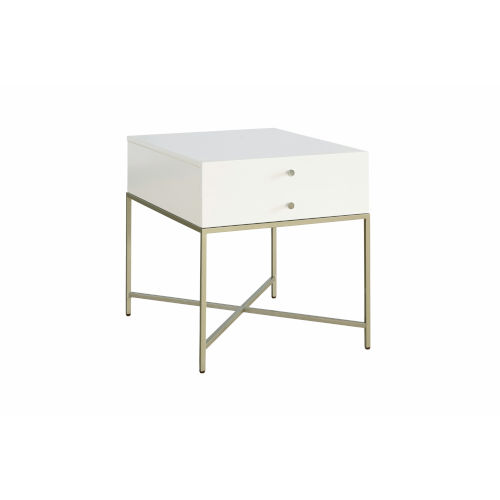 Delaney White One-Drawer End Table