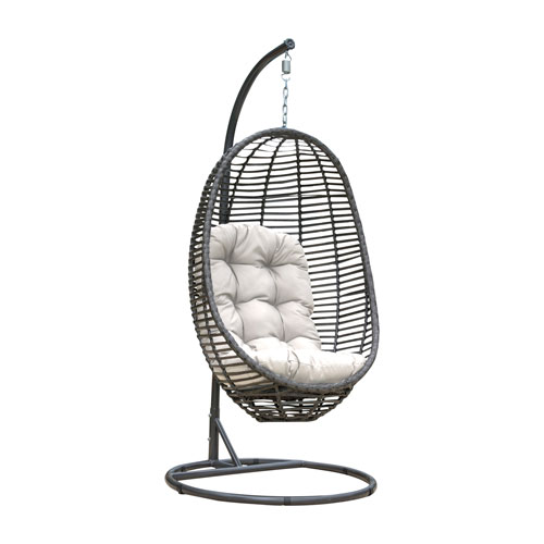 Intech Grey Outdoor Hanging Chairs with Sunbrella Spectrum Daffodil cushion, 2 Piece