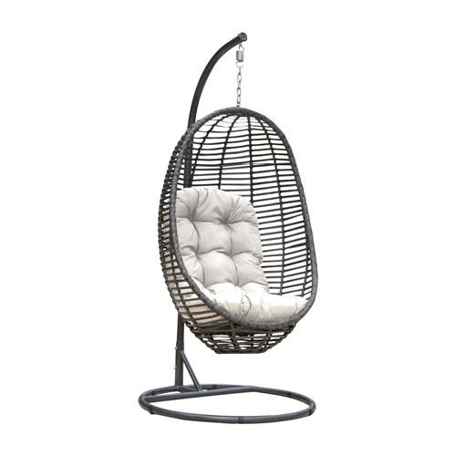 Intech Grey Outdoor Hanging Chairs with Sunbrella Getaway Mist cushion, 2 Piece