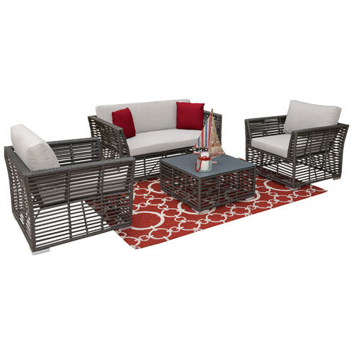 Intech Grey Outdoor Living Sets with Sunbrella Frequency Sand cushion, 4 Piece