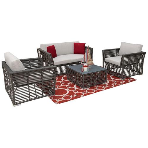 Intech Grey Outdoor Living Sets with Sunbrella Getaway Mist cushion, 4 Piece