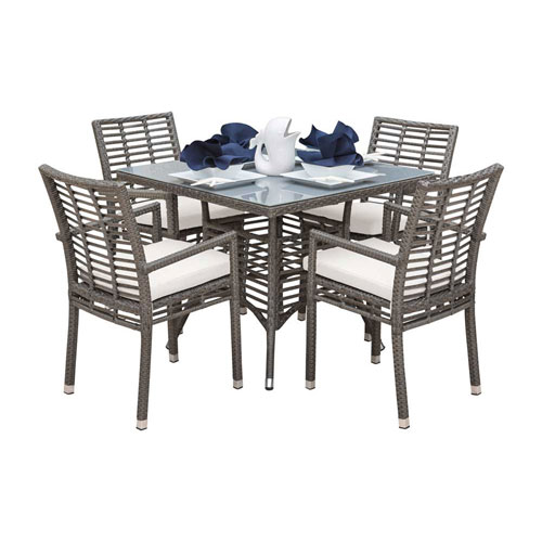 Intech Grey Outdoor Dining Set with Sunbrella Frequency Sand cushion, 5 Piece