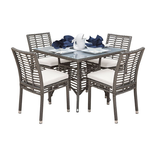Intech Grey Outdoor Dining Set with Sunbrella Blox Slate cushion, 5 Piece