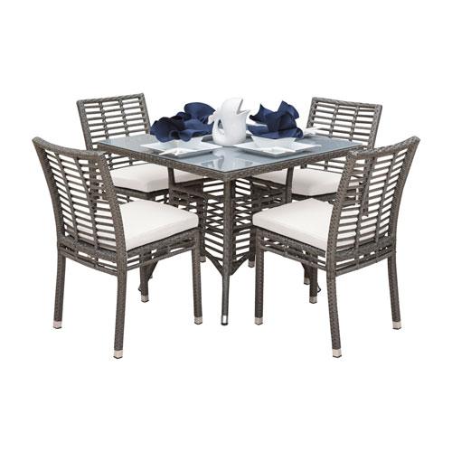 Intech Grey Outdoor Dining Set with Sunbrella Canvas Jockey Red cushion, 5 Piece