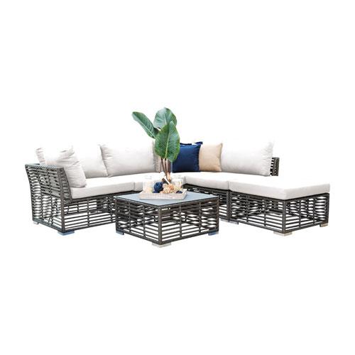 Intech Grey Outdoor Sectional Sunbrella Foster Metallic cushion, 6 Piece