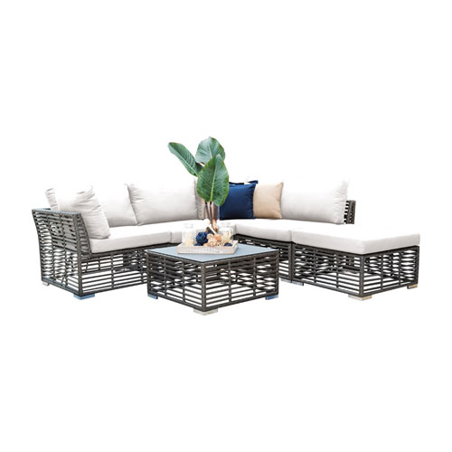 Intech Grey Outdoor Sectional Sunbrella Peyton Granite cushion, 6 Piece
