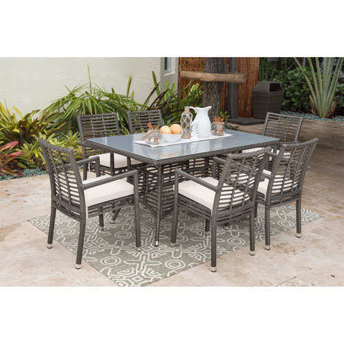 Intech Grey Outdoor Dining Set with Sunbrella Canvas Macaw cushion, 7 Piece