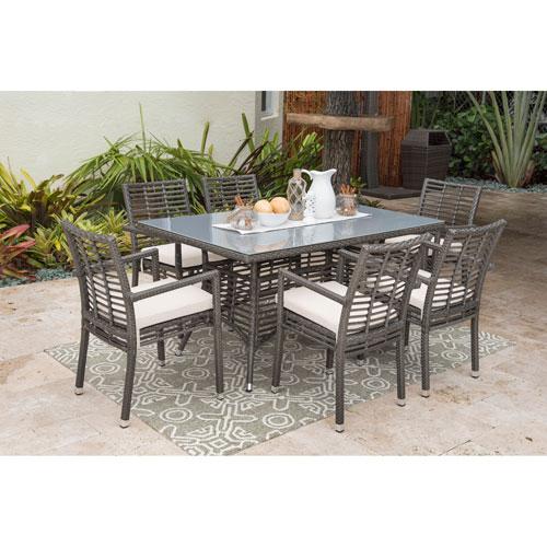 Intech Grey Outdoor Dining Set with Sunbrella Canvas Jockey Red cushion, 7 Piece