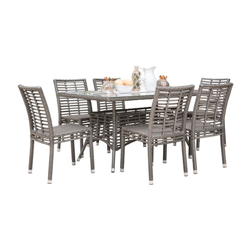 Intech Grey Outdoor Dining Set with Sunbrella Linen Champagne cushion, 7 Piece