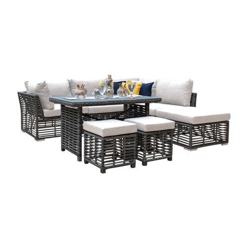 Intech Grey Outdoor High Ct Sectional with Sunbrella Canvas Brick cushion, 7 Piece
