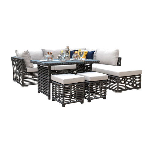 Intech Grey Outdoor High Ct Sectional with Sunbrella Frequency Sand cushion, 7 Piece