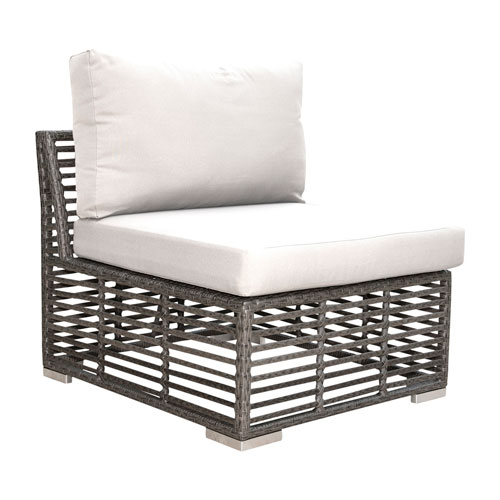 Intech Grey Outdoor Modular Armless Chair with Sunbrella Canvas Jockey Red cushion