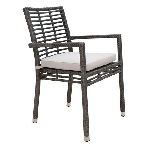 Intech Grey Outdoor Stackable Arm Chair with Sunbrella Dimone Sequoia cushion