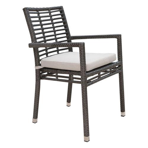 Intech Grey Outdoor Stackable Arm Chair with Sunbrella Cabaret Blue Haze cushion