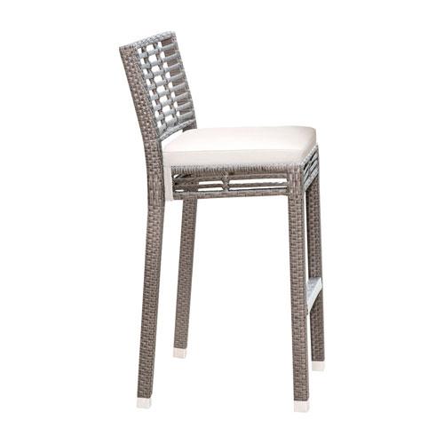 Intech Grey Stackable Outdoor Barstool with Sunbrella Canvas Natural cushion