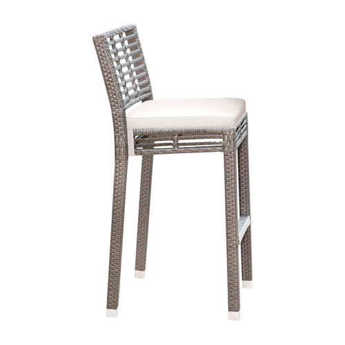 Intech Grey Stackable Outdoor Barstool with Sunbrella Linen Champagne cushion