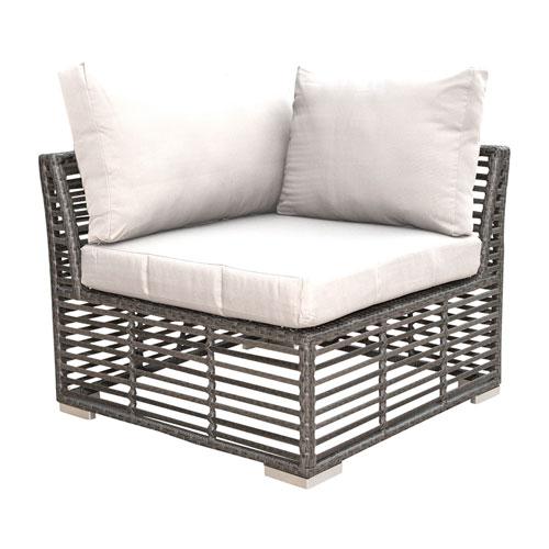 Intech Grey Outdoor Modular Corner Unit with Sunbrella Canvas Vellum cushion