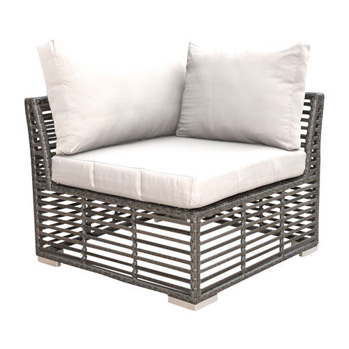 Intech Grey Outdoor Modular Corner Unit with Sunbrella Foster Metallic cushion