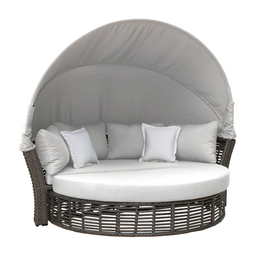 Intech Grey Outdoor Canopy Daybed with Sunbrella Frequency Sand cushion