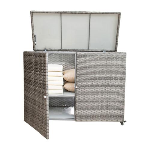 Intech Grey Cushion Outdoor Storage Cart With Doors
