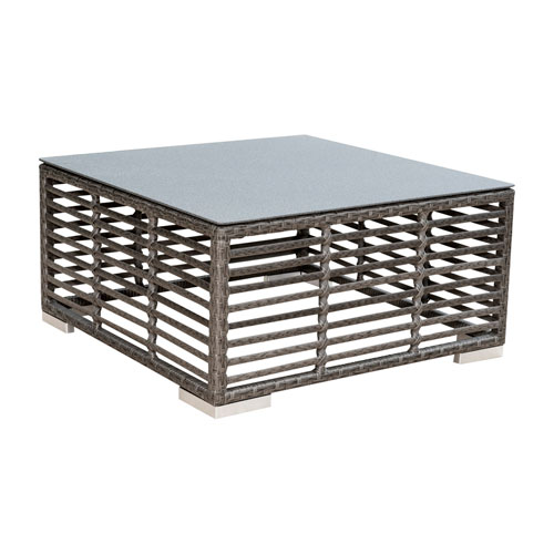 Intech Grey Outdoor Square Coffee Table with glass