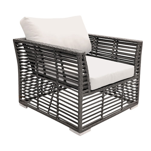 Intech Grey Outdoor Lounge chair with Sunbrella Antique Beige cushion
