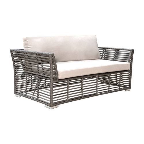 Intech Grey Outdoor Loveseat with Sunbrella Frequency Sand cushion