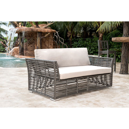 Intech Grey Outdoor Loveseat with Standard cushion