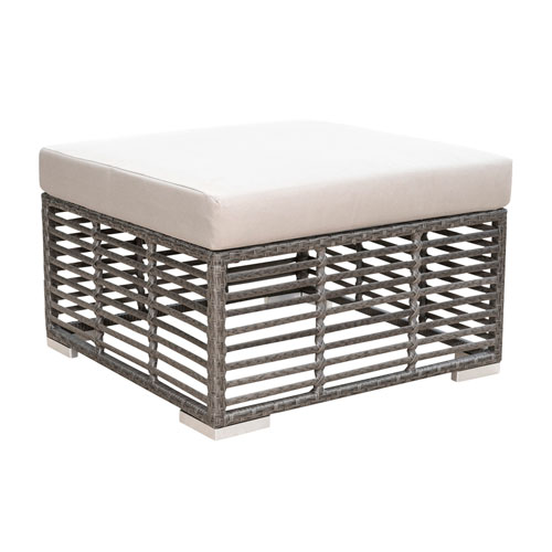 Intech Grey Outdoor Square Ottoman with Sunbrella Dupione Bamboo cushion