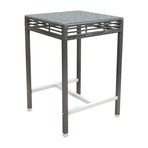 Intech Grey Outdoor Square Pub Table with Glass