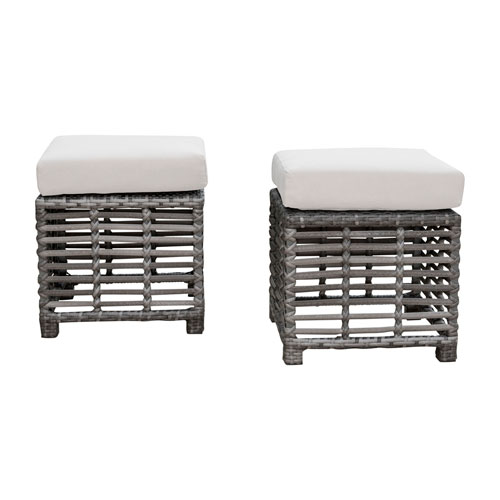 Intech Grey Outdoor Small Ottomans with Sunbrella Frequency Sand cushion