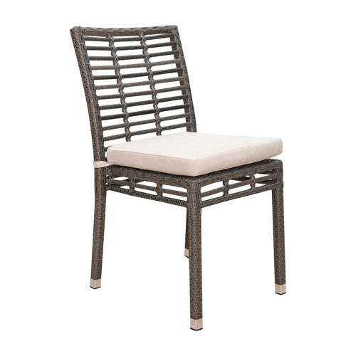 Intech Grey Outdoor Stackable Side Chair with Canvas Heather Beige cushion