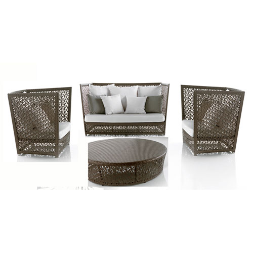 Bronze Grey Outdoor Seating Set Sunbrella Dupione Bamboo cushion, 4 Piece