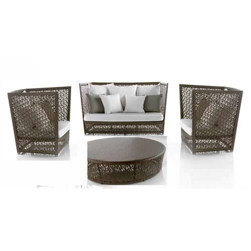Bronze Grey Outdoor Seating Set Sunbrella Linen Taupe cushion, 4 Piece