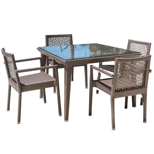 Bronze Grey Dining Set with Sunbrella Linen Taupe cushion, 5 Piece