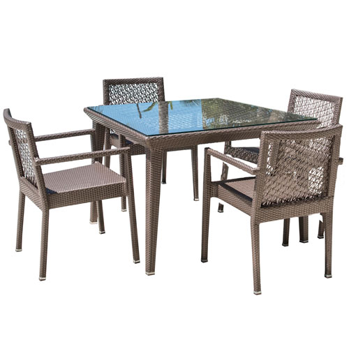Bronze Grey Dining Set with Sunbrella Frequency Sand cushion, 5 Piece