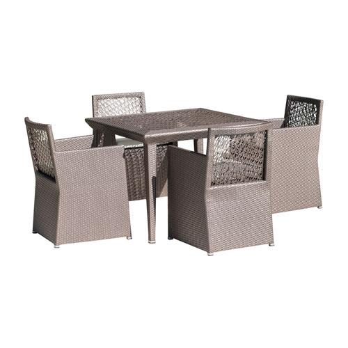 Bronze Grey Outdoor Woven Dining Set with Sunbrella Canvas Heather Beige cushion, 5 Piece
