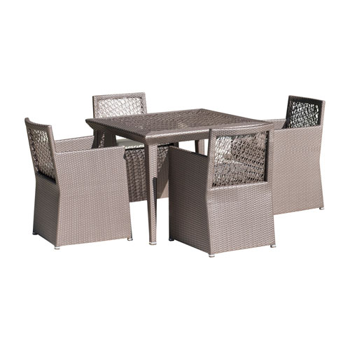 Bronze Grey Outdoor Woven Dining Set with Sunbrella Cabaret Blue Haze cushion, 5 Piece