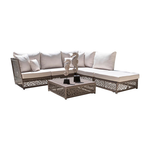 Bronze Grey Outdoor Sectional Set Sunbrella Linen Champagne cushion, 6 Piece