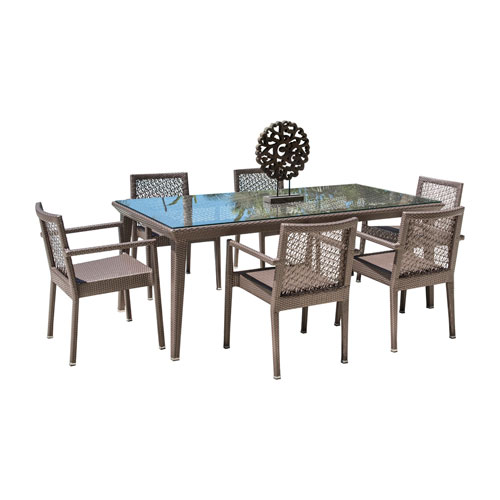 Bronze Grey Dining Set with Sunbrella Getaway Mist cushion, 7 Piece
